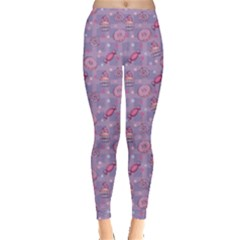 Purple Pattern Donuts Candies And Lollypops Check Leggings