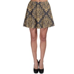 Yellow Damask Pattern Element Skater Skirt by CoolDesigns