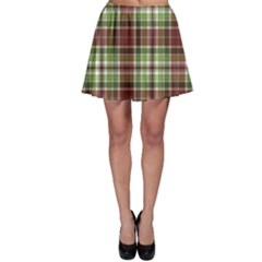 Green Red And Green Pattern Skater Skirt by CoolDesigns