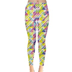 Yellow Geometric Pattern Colorful Stripes Leggings by CoolDesigns