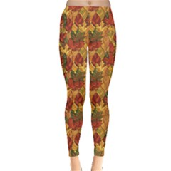 Orange Abstract Autumn Leaves Pattern Leggings by CoolDesigns