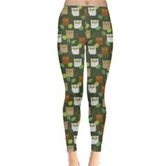 Green Pattern Colorful Funny Surprised Owls Leggings by CoolDesigns