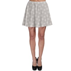 Gray Gray Lace White Snowflakes Pattern Skater Skirt