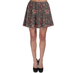 Gray Elegance Pattern Flowers Roses Skater Skirt by CoolDesigns