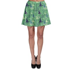 Green Pattern Decorative Ships Skater Skirt by CoolDesigns