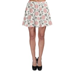 Pink Floral Pattern Skater Skirt by CoolDesigns