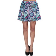 Blue Pattern Traditional Asian Elements Paisley Skater Skirt by CoolDesigns