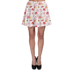 Red Bright Fishes Crab Corals Watercolor Pattern Skater Skirt by CoolDesigns