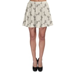 Gray Doodle Birthday Giraffe Pattern Skater Skirt