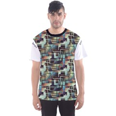 Colorful Pattern Abstract Geometric Green Pattern Men s Sport Mesh Tee by CoolDesigns