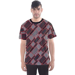 Black Pattern Geometric Pattern Retro Rectangles Polka Dot Men s Sport Mesh Tee by CoolDesigns