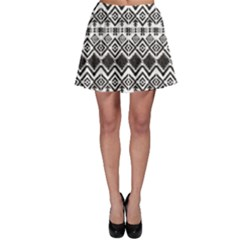 Black Black And White Tribal Pattern Skater Skirt by CoolDesigns