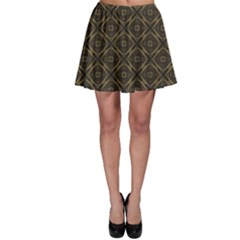 Dark Vintage Geometric Ornament Lineart Pattern Skater Skirt by CoolDesigns