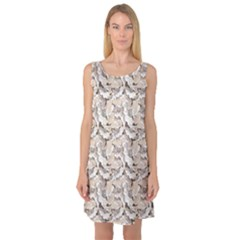 Gray Bright Graphic Floral Pattern Sleeveless Satin Nightdress by CoolDesigns