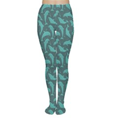 Green Mosaic Pattern With Dolphins Tights by CoolDesigns