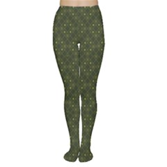 Dark Green Flower And Cross Pattern Tights