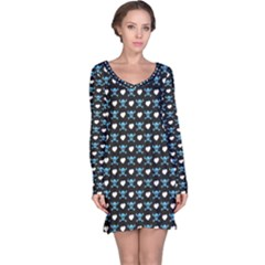 Blue Skulls And Hearts Pattern Long Sleeve Nightdress by CoolDesigns
