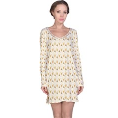 Orange Pattern With Deers Long Sleeve Nightdress by CoolDesigns