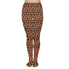 Brown Halloween Pattern With Simple Cute Pumpkins Tights by CoolDesigns
