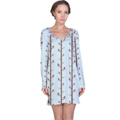 Blue Cute Winter Bullfinch Bird Pattern Long Sleeve Nightdress by CoolDesigns