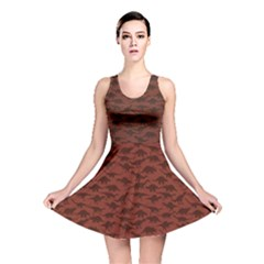 Dark A Pattern With Dinosaur Silhouettes Reversible Skater Dress