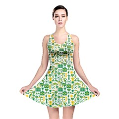 Green Brazil Country Foodball Shirts Flags Pattern Reversible Skater Dress