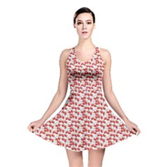 Red Medical Pills Over White Pattern Reversible Skater Dress by CoolDesigns