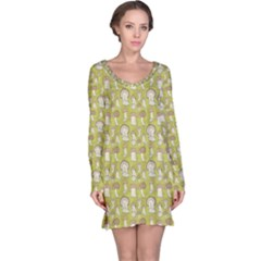 Green Pattern With Cep Mushroom Long Sleeve Nightdress by CoolDesigns