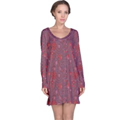 Purple Red Love Hearts Birds Flowers Pattern Long Sleeve Nightdress