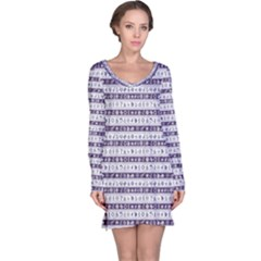 Blue Borders With Nautical And Sea Symbols Long Sleeve Nightdress by CoolDesigns