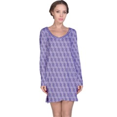 Purple Abstract Geometric Pattern Long Sleeve Nightdress by CoolDesigns