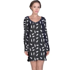 Black Cockroaches On Black Pattern Long Sleeve Nightdress by CoolDesigns