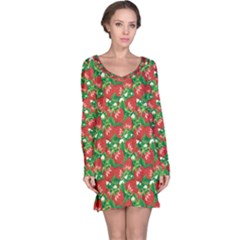 Colorful Pattern Of Fresh Red Strawberry Long Sleeve Nightdress by CoolDesigns