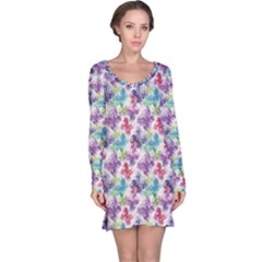 Purple Floral Pattern Silhouettes Colorful Butterflies Long Sleeve Nightdress by CoolDesigns