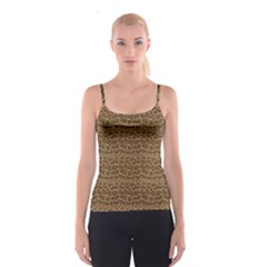 Brown Python Snakeskin Pattern Repeats Seamlessly Spathetti Strap Top by CoolDesigns