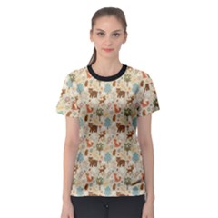 Colorful Colorful Woodland Animals Pattern Women s Sport Mesh Tee by CoolDesigns