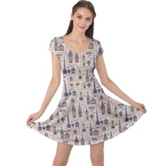 Blue Pattern Ancient Town Castles Houses Trees Birds Cap Sleeve Dress