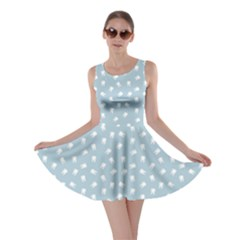 Blue Dental Pattern White Teeth On Blue Skater Dress by CoolDesigns