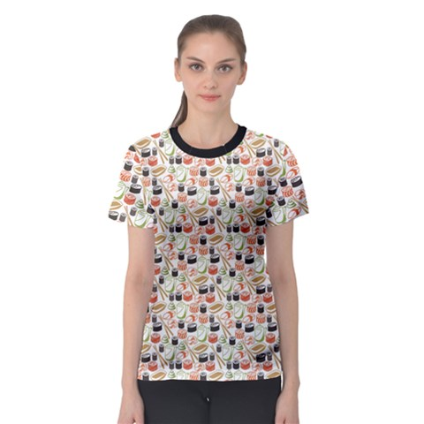 Colorful Pattern With Sushi Women s Sport Mesh Tee by CoolDesigns