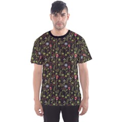 Dark With Autumn Flowers Pattern Men s Sport Mesh Tee by CoolDesigns