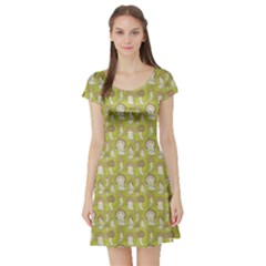 Green Pattern With Cep Mushroom Short Sleeve Skater Dress