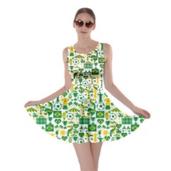 Green Brazil Country Foodball Shirts Flags Pattern Skater Dress by CoolDesigns
