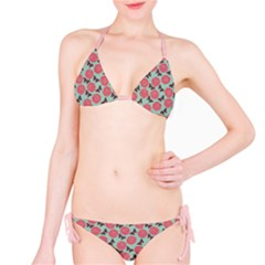 Pink Beautiful Pattern Roses Silhouettes Butterflies Bikini Set by CoolDesigns