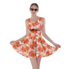 Orange Floral Pattern With Orchids Skater Dress by CoolDesigns