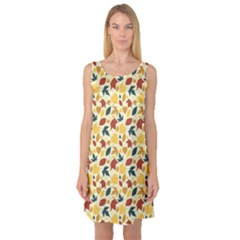 Colorful Pattern With Falling Leaves Sleeveless Satin Nightdress by CoolDesigns