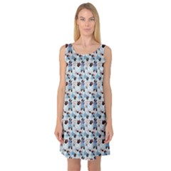 Blue Graphic Pattern Of Different Seashells Sleeveless Satin Nightdress by CoolDesigns