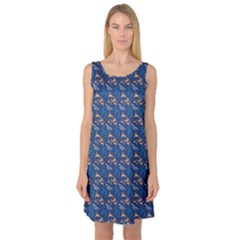 Blue Pattern With Dolphins Sleeveless Satin Nightdress