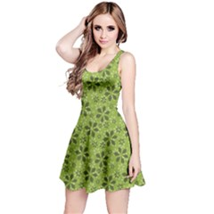Green Pattern With Abstract Flowers Sleeveless Dress