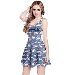 Blue Graphic Pattern Bright Flowers And Birds In Love Sleeveless Dress