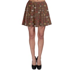 Dark Bright Pattern With Hearts Skater Skirt by CoolDesigns